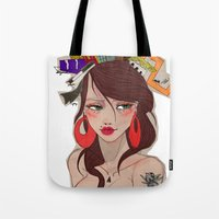 barcelona Tote Bags featuring Barcelona by LucreziaU's Illustration