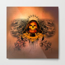 Amazing creepy skull with flying skulls Metal Print