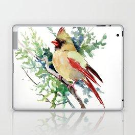 Cardinal Bird Artwork, female cardinal bird Laptop & iPad Skin