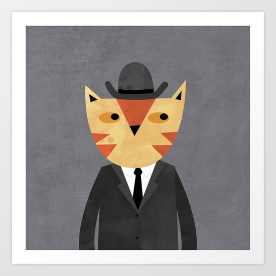 Ginger Cat in a Bowler Hat Art Print