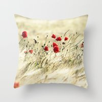 poem Throw Pillows featuring A POPPY  POEM by Stephanie Koehl