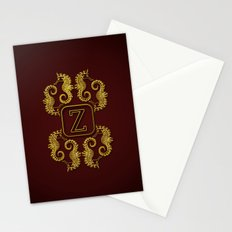 Letter Z seahorse monogram Stationery Cards