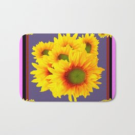 Pink Sunflowers Still life Vinette Bath Mat