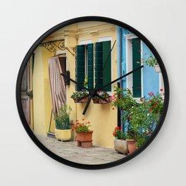 Colors of Burano Italy #4 Wall Clock