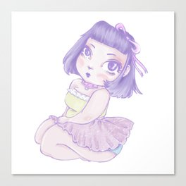 Pastel Girl purple and white Canvas Print