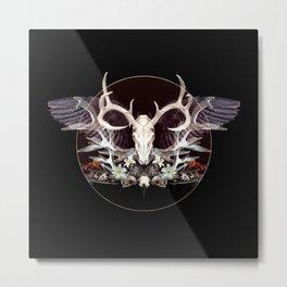 Deer and Crow Skulls Single Image Metal Print