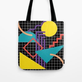 Memphis Pattern - 80s Retro Black Tote Bag