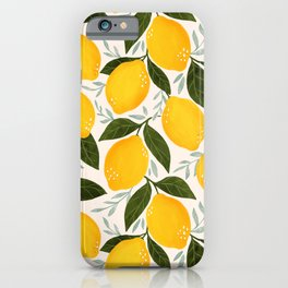 Mediterranean Summer Lemons Pattern iPhone Case