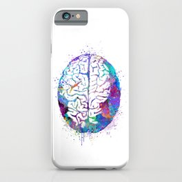 Human Brain Colorful Watercolor iPhone Case