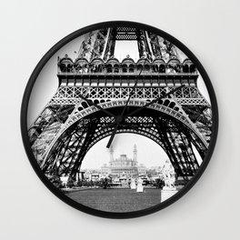 Vintage Eiffel Tower Photograph Wall Clock