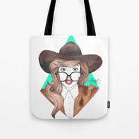 nerd Tote Bags featuring Nerd by Andres Estrada