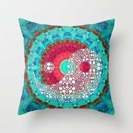 Mystic Yin and Yang - Aqua, Blue and Red Art - Sharon Cummings Throw Pillow
