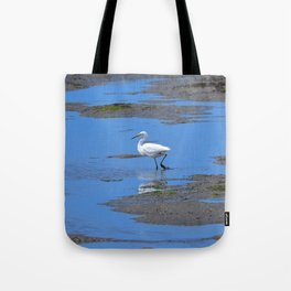 egret in brown and blue Tote Bag