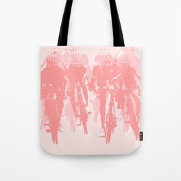 Cyclists in the sprint pink Tote Bag