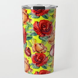 Botanical red orange yellow hand painted roses pattern Travel Mug