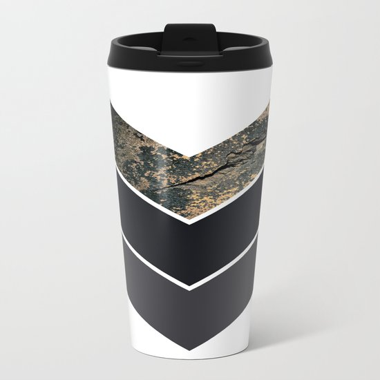 Scandinavian Gold Concrete Black Gray Geometric Pattern Metal Travel Mug
