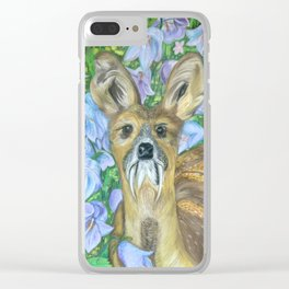 Musk Deer with Bluebells Clear iPhone Case