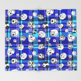 Plaid Sheepies Blue Throw Blanket
