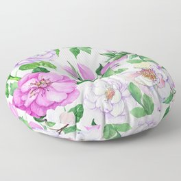Elegant Pink & Lilac Floral Pattern Floor Pillow