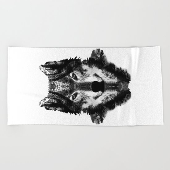 The Black Forest Wolf Beach Towel