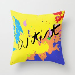Artist paint cloth, painting with digital modification Throw Pillow