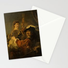Rembrandt - Rembrandt and Saskia in the Scene of the Prodigal Son (1635) Stationery Cards