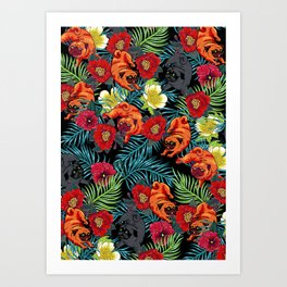 Pugs and Spring Floral Art Print