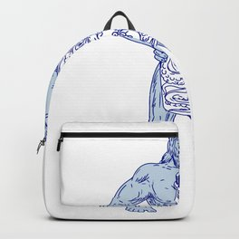 Hercules Holding Bottle With Octopus Inside Drawing Backpack