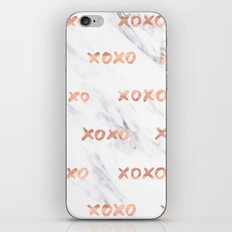 Valentines Day Rose Gold Marble Words - XOXO Typography iPhone & iPod Skin