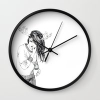 antlers Wall Clocks featuring Antlers by Margret Stewart
