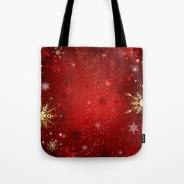 Red Background with Gold Snowflakes Tote Bag