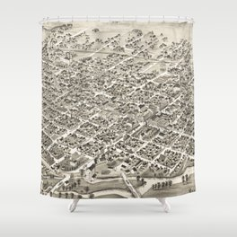 Vintage Pictorial Map of Muncie Indiana (1884) Shower Curtain