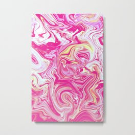 WHIRLING PINK AND GOLD Metal Print