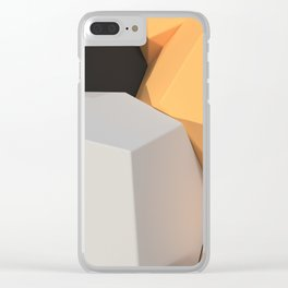 Pattern of white, orange and black hexagonal elements Clear iPhone Case