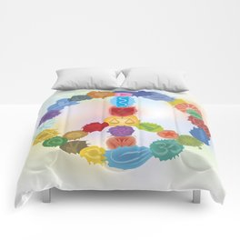 Peace Sign In Colors Comforters