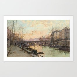 Eugène Galien Laloue - Evening, Pont Neuf Art Print