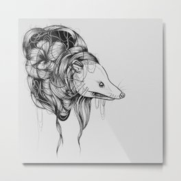 Possum Black Ink Drawing Metal Print