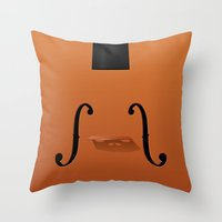 violin Throw Pillows featuring Violin by rob art | illustration