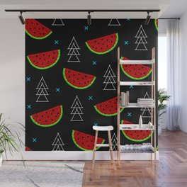 Mosaic watermelon on black Wall Mural