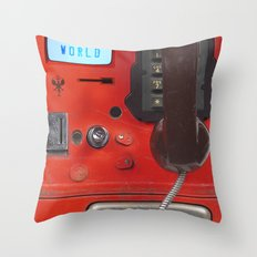 Hello World Public Phone Throw Pillow