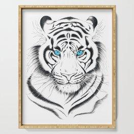 White Bengal tiger Blue Eyes Ink Art Serving Tray