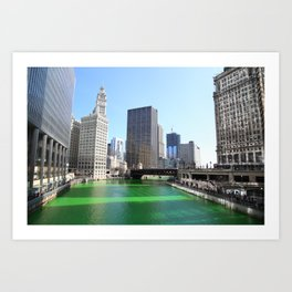Chicago River Green for St. Patrick's Day Art Print