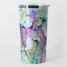 Cool Blue Vibrant Cosmos watercolor by CheyAnne Sexton Travel Mug