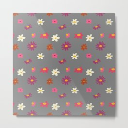 Gray Retro Mini Flowers Metal Print
