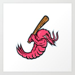 Jumbo Shrimp Baseball Mascot Art Print