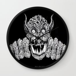 Full of hate Ink Illustration Wall Clock