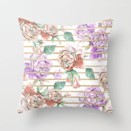 Watercolor coral violet gold geometrical floral Throw Pillow
