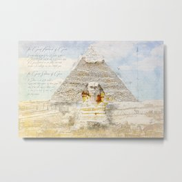 Cheops Pyramid and  Sphinx, Cairo Egypt Metal Print