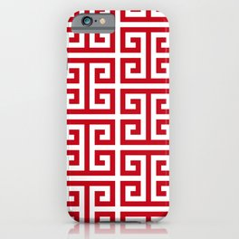 Pomegranate Red and White Greek Key Pattern iPhone Case