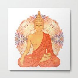 Sitting Buddha over ornate mandala round pattern Metal Print
